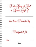 Memorial Book Sheets A Special Gift - 1 Entry (Pkg of 10)