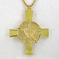 Gold Plate Luther's Rose Clergy Cross